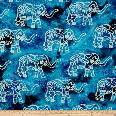 Indian Batik Elephant Blue Multi