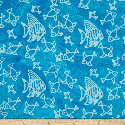 Indian Batik Large Fish Aqua/White