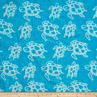 Indian Batik Turtles Aqua/White
