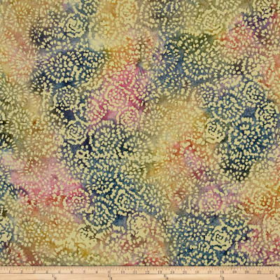 Indian Batik Abstract Floral Blue/Pink/Yellow