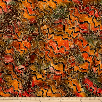 Indian Batik Metallic Zigzag Orange/Yellow