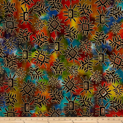 Indian Batik Metallic Abstract Multi