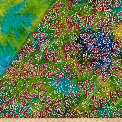 Double Face Quilted Indian Batik Butterflies Aqua/Yellow/Green