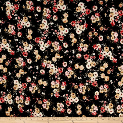 Liverpool Double Knit Large Floral Black/Yellow/Red