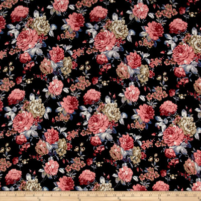 Liverpool Double Knit Flowers Black/Pink
