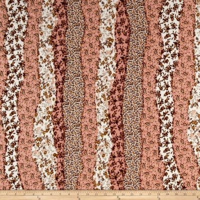 ITY Brushed Jersey Knit Border Flowers Peach/Brown/Cream