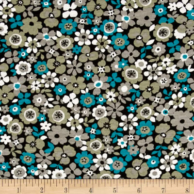 French Designer Jersey Knit Floral Teal/Brown