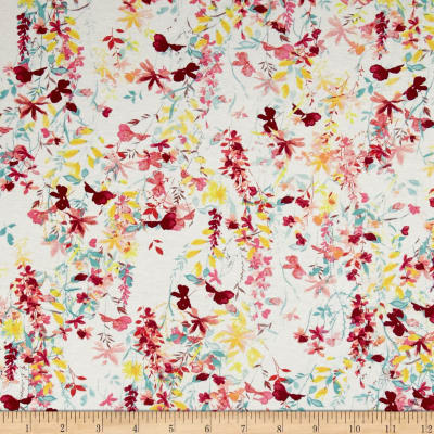 French  Designer Rayon Jersey Knit Floral Pink/White/Mint
