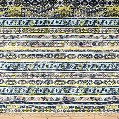 French Designer Basketweave Acrylic Aztec Blue/Peach/Yellow
