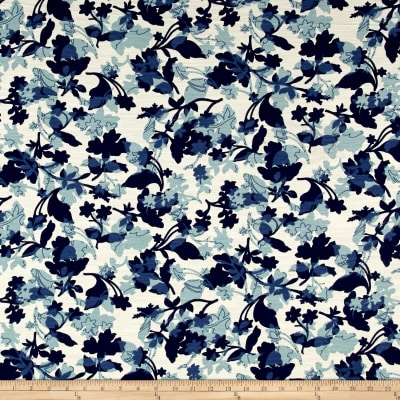 French Designer Barkcloth Floral Blue