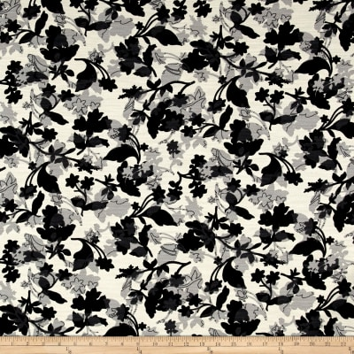 French Designer Barkcloth Floral Black