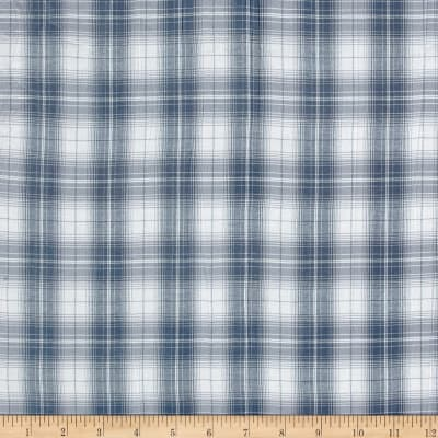 Burberry Designer 3-Ply Cotton Voile Plaid Blue/White