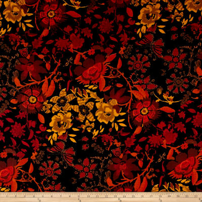 French Designer Cotton Sateen Floral Orange/Yellow/Black