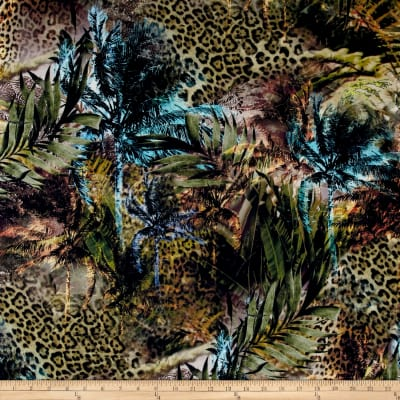 French Designer Rayon Challis Digital Print Tropical Cheetah Green/Blue/Yellow