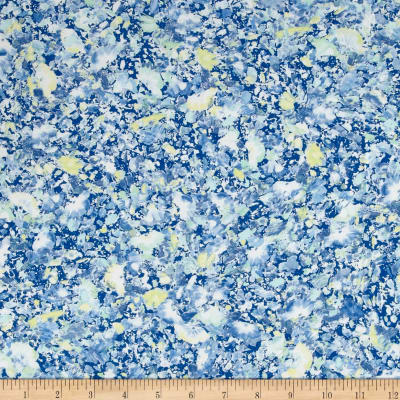 French Designer Rayon Challis Abstract Splatter Blue/Yellow/White