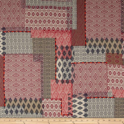 French Designer Rayon Challis Aztec Collage  Red/Pink/Blue
