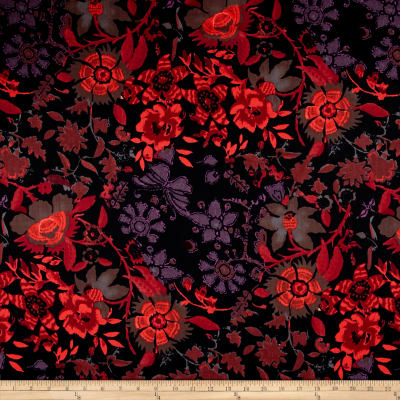 French Designer Cotton Twill Shirting Butterfly Floral Black/Purple/Coral