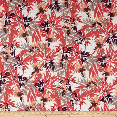 French Designer Textured Cotton Poly Poplin Foliage Ivory/Taupe/Coral