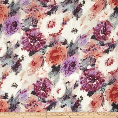 Italian Designer Cotton Silk Metallic Abstract Floral White/Purple/Pink