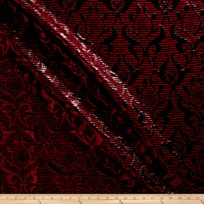 Chanel Designer Metallic Damask Brocade Burgundy