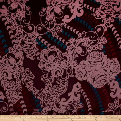 Poly Cotton Voile Large Damask Print Purple/Teal