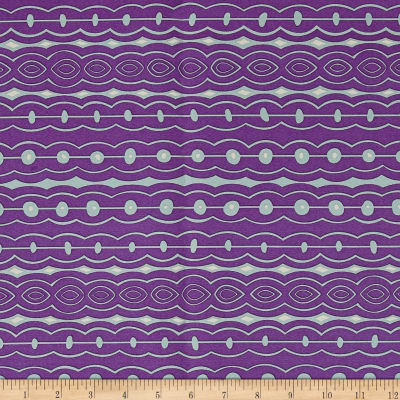 Silk Cotton Geo Stripe Purple/Aqua