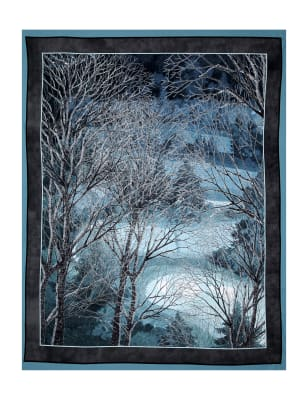 "Digital At Dusk Tree 35"" Panel Aqua"