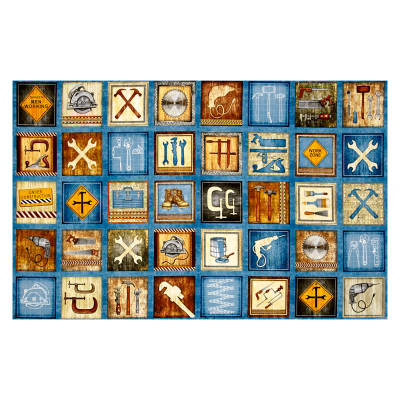 """Craftsman Tools & Construction Signs Patches 24"""" Panel Denim"""