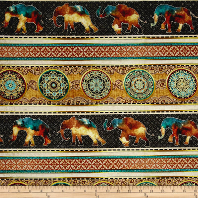 Caravan Elephant Decorative Stripe Charcoal