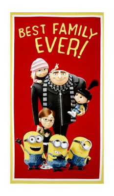 "Despicable Me 3 Best Family Ever 24"" Panel Red"