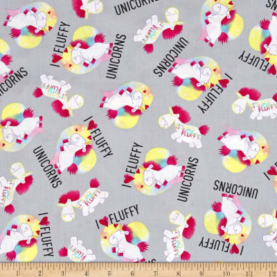QT Fabrics Despicable Me 3 Best Family Ever I Love Fluffy/Unicorns Gray