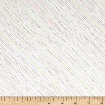 QT Fabrics Gift Of Friendship Diagonal Linear Stripe White/Pink