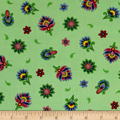 QT Fabrics Imperial Paisley Tossed Flower Light Lime