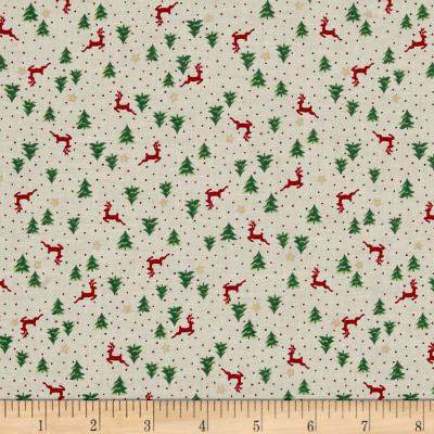 Under The Christmas Tree Reindeer Toss Cream Metallic