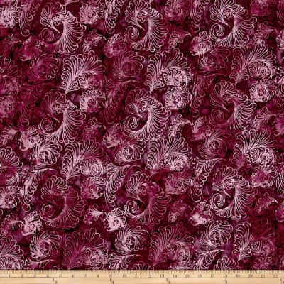Timeless Treasures Tonga Batik Cactus Feathers Plum