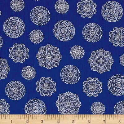 Timeless Treasures Dutchess Metallic Spaced Medallions Blue