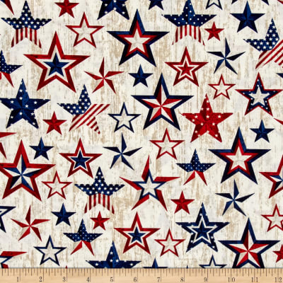 Timeless Treasures American Pride Americana Stars Natural