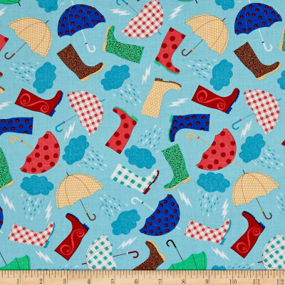 Timeless Treasures Rainboots & Umbrella's Sky
