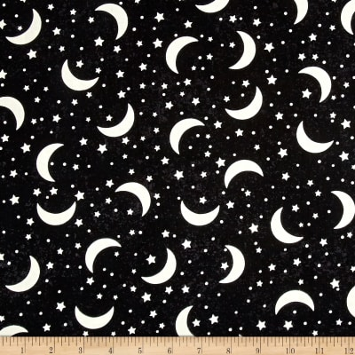 Timeless Treasures Glow In The Dark Crescent Moons & Stars Black