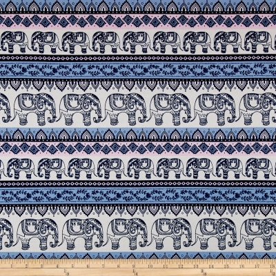 Cotton Spandex Jersey Knit Elephants Cream/Pink/Blue