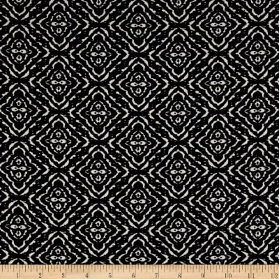 Polyester Crepe Abstract Diamond Black/White