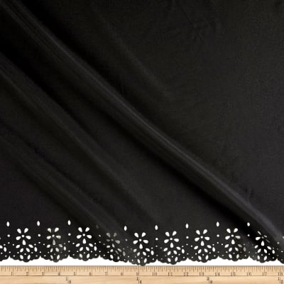 Crepe de Chine Double Border Lasercut Confetti Black