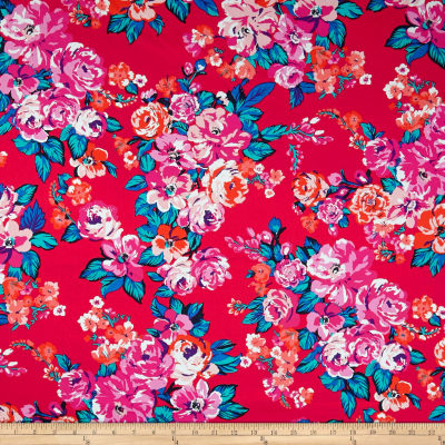 Stretch Poplin Floral Poppy/Flamingo