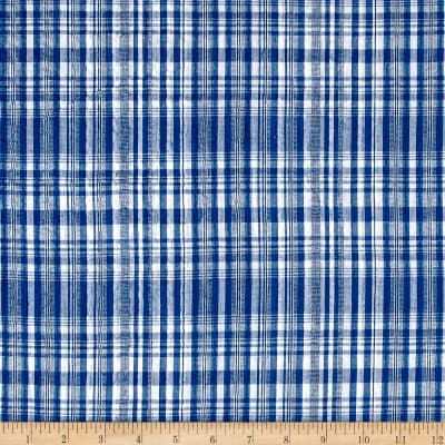 Cotton Seersucker Plaid Navy/White