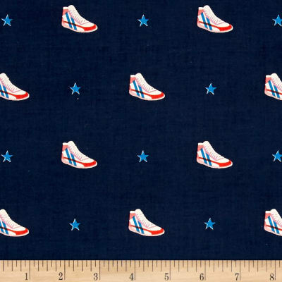Cotton + Steel  Kicks Little Kicks Navy