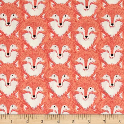 Cotton + Steel Magic Forest Foxes Coral