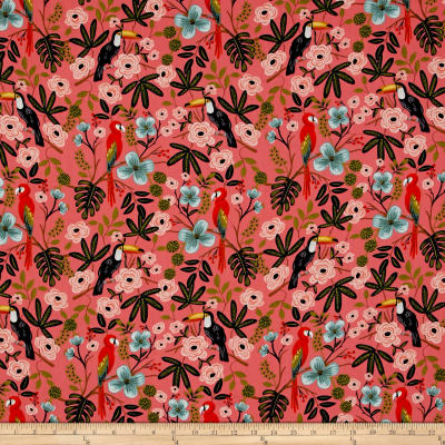Cotton + Steel Rifle Paper Co. Menagerie Rayon Lawn Paradise Garden Coral