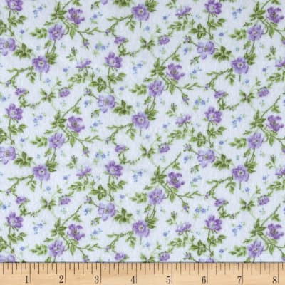 Afternoon In The Attic Flannel Dainty Blooms Lavender