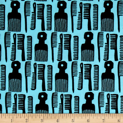 Kaufman Build A Bouffant Digital Print Combs Blue