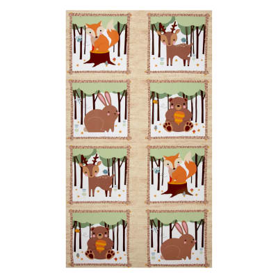"Kaufman Woodland Hideaway Flannel 24"" Panel Ivory"